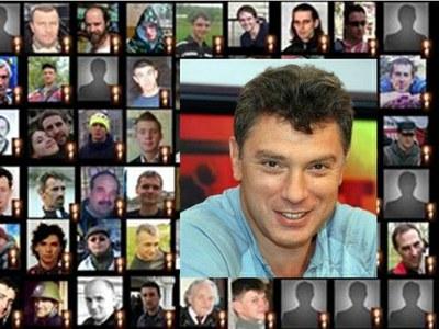 «Пишите Боре, вот новый адрес: / Небесная Сотня. Немцов Борис» (Орлуша).