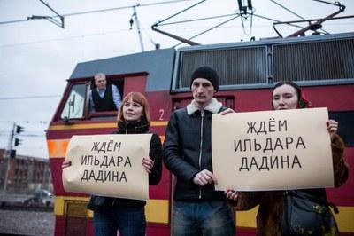 """""""Встреча"""" Ильдара Дадина на Ладожском вокзале"""